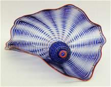 164: Dale Chihuly (b.1941 WA) 2-Piece Blue & Red Persia
