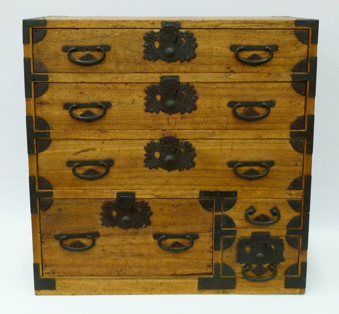 1: Meiji Japanese Tansu Chest with 6 Drawers 23.5''x23.