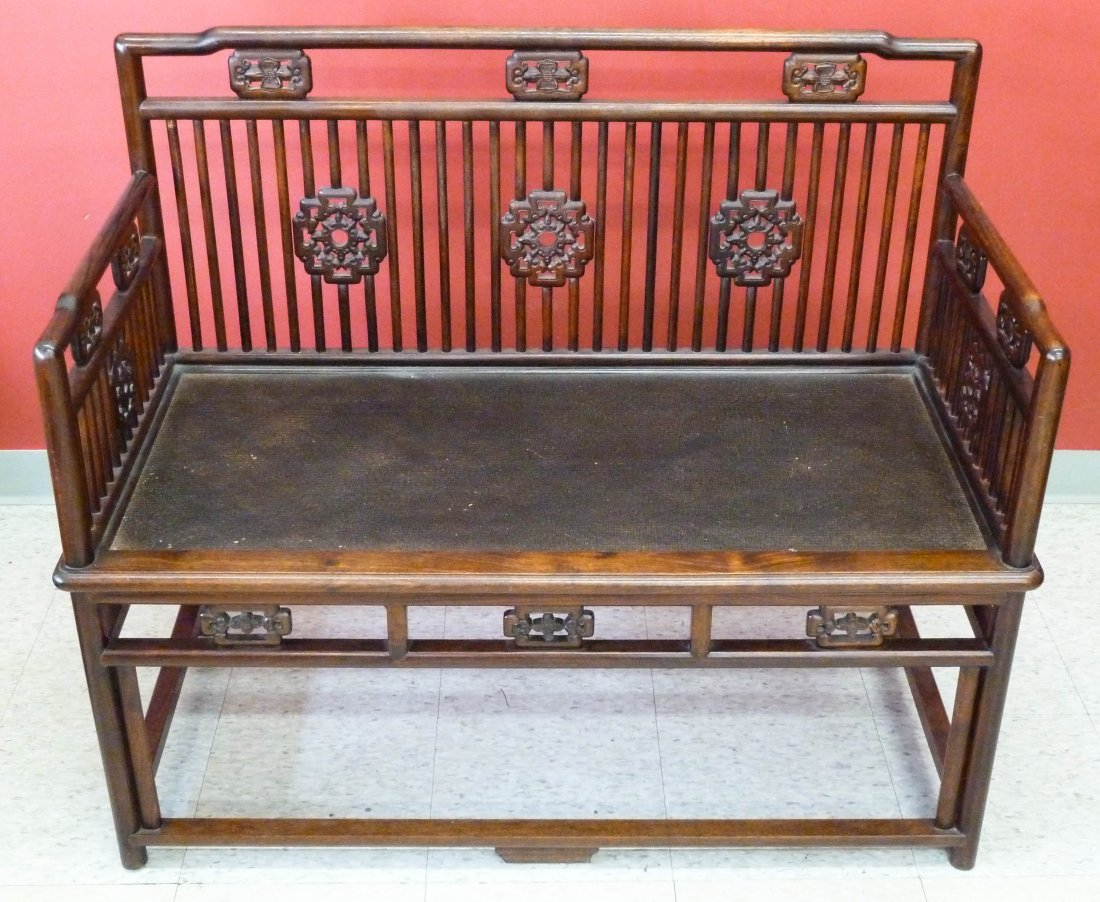 3: Chinese Carved Rosewood (Huanghuali ?) Settee Bench