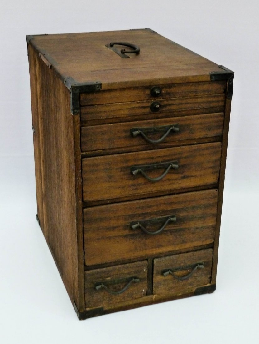 9: Meiji Japanese Tansu Calligraphy Chest with 7 Drawer