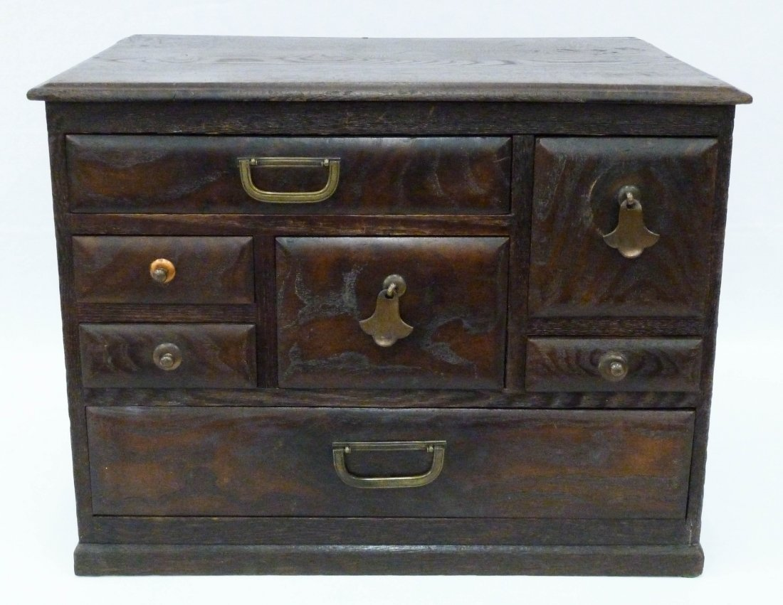 12: Meiji Japanese Tansu Chest with 7 Drawers 12''x15.7