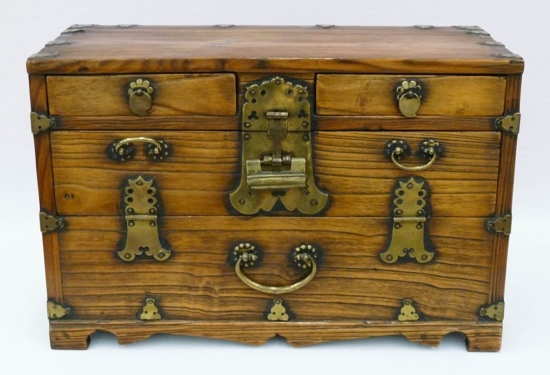 13: Antique Korean Tansu Chest with 4 Drawers 14''x21.5