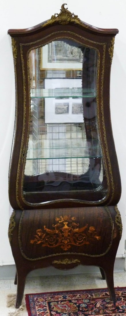 18: Antique French Marquetry Inlaid Mirrored Vitrine Ca
