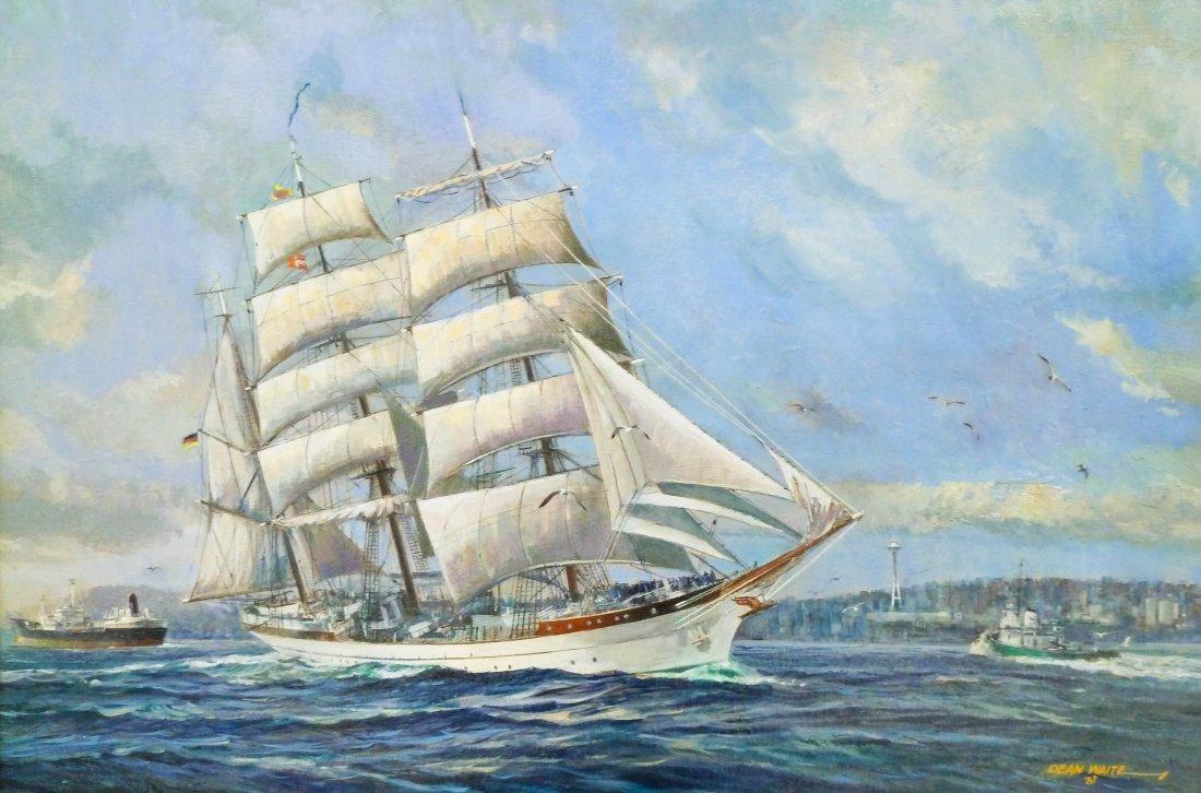 19: Dean Waite (b.1923 MA) ''Sailing Yacht in Elliot Ba