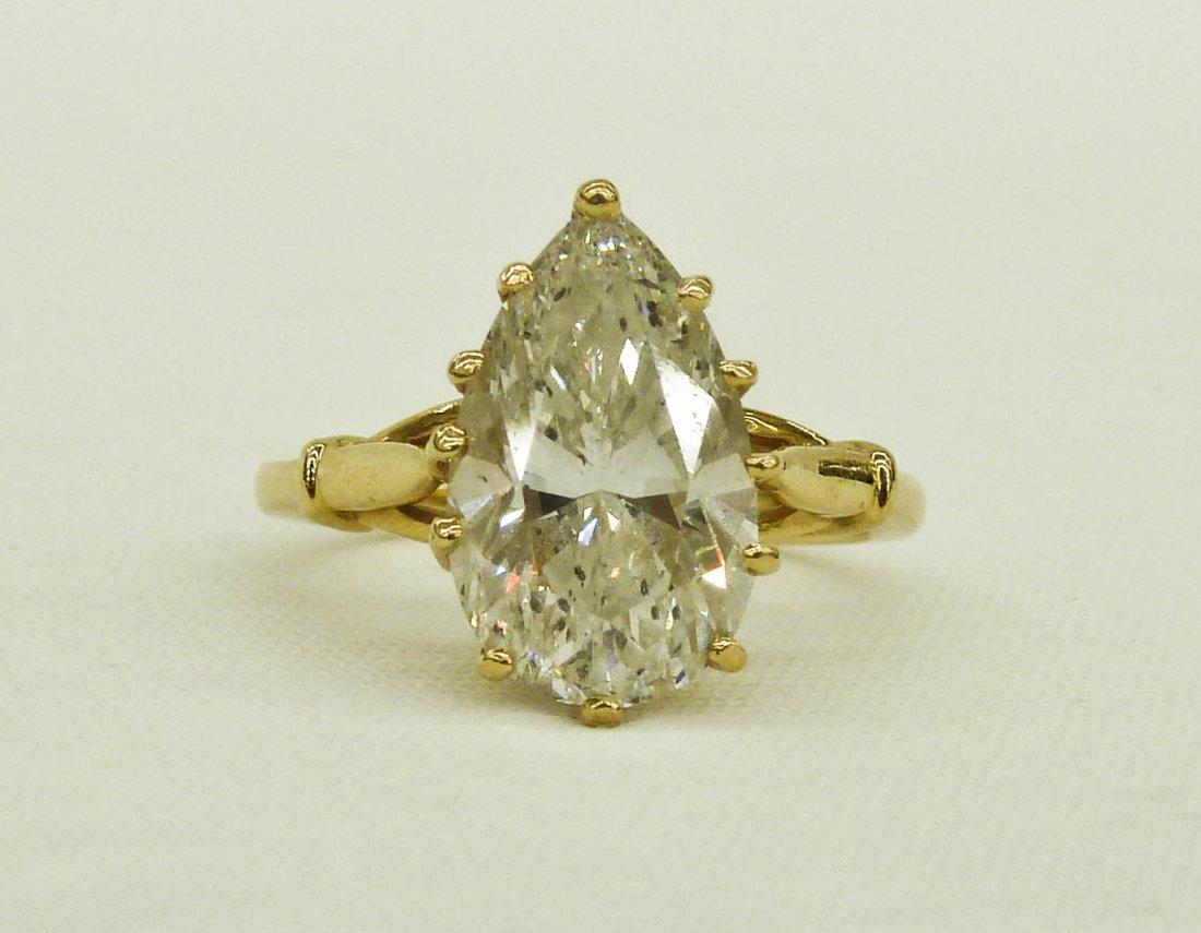 73: 4.65 Carat Pear Shaped Brilliant Cut Diamond in 14k
