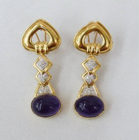 Pair 18k Dangle Earrings With Diamonds And Oval Ame