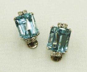 Pair Of Natural Aquamarine & Diamond Earrings In 14