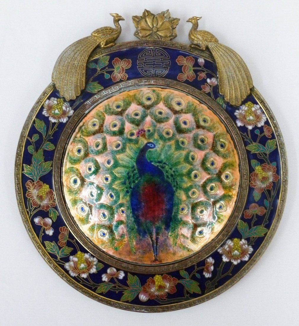 109: Chinese Enameled Brass & Cloisonne Peacock Plaque
