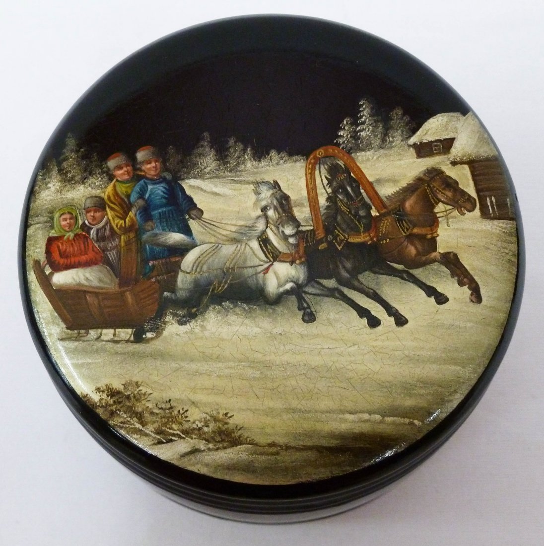 113: Antique Russian Lacquered Round Box with Sledding