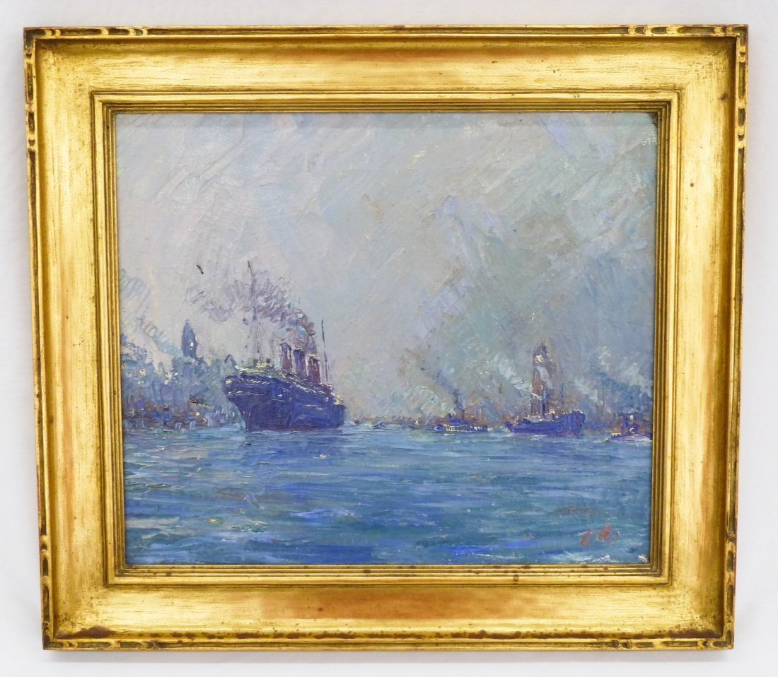 3: Marcel Olis (20th Cent. NY) Untitled Steamship in Ha