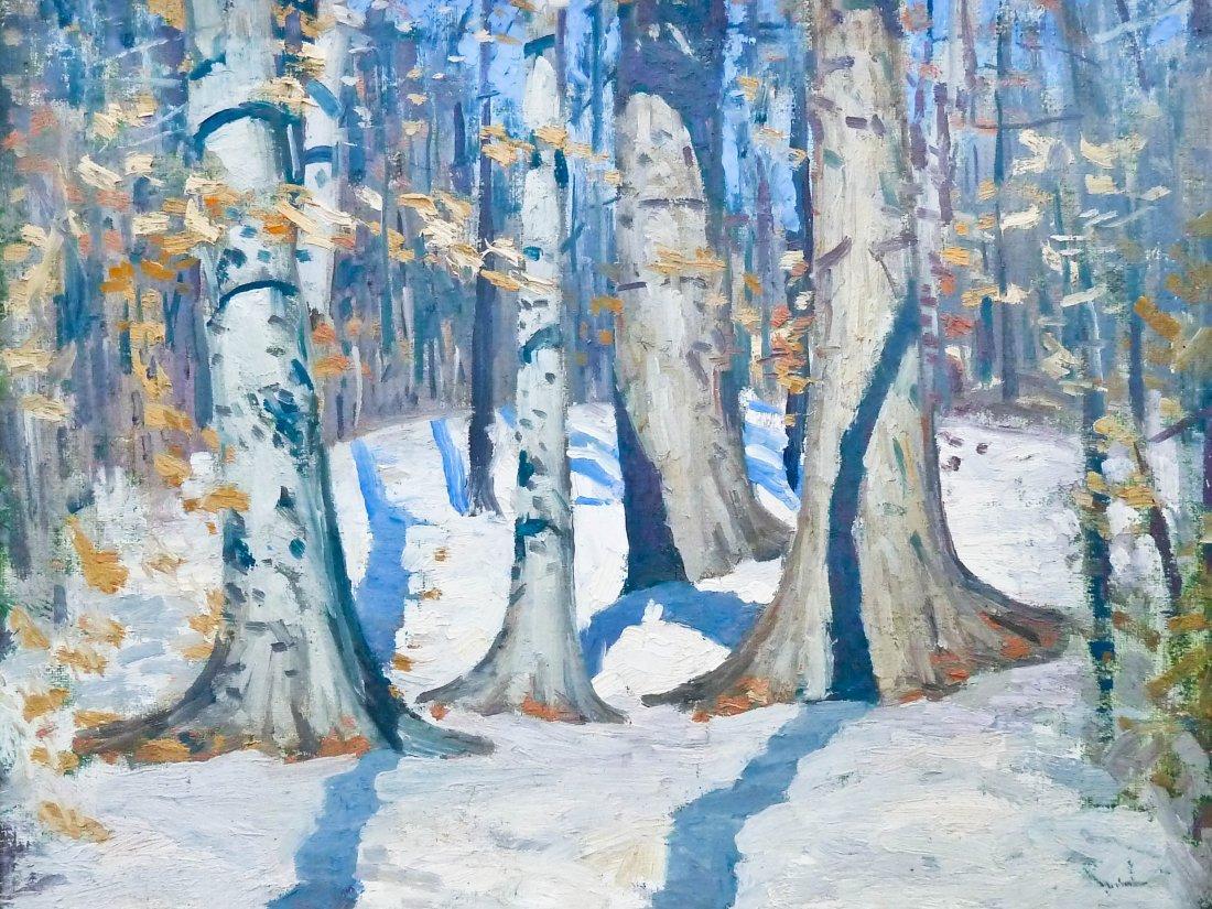 6: Unsigned Impressionist Forest Scene Oil/Board 8''x10