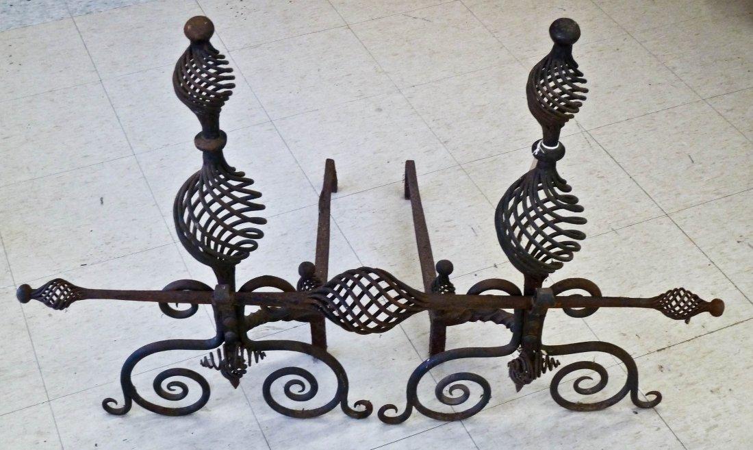 Samuel Yellin Attr. Arts & Crafts Pair of Spiral, Curle