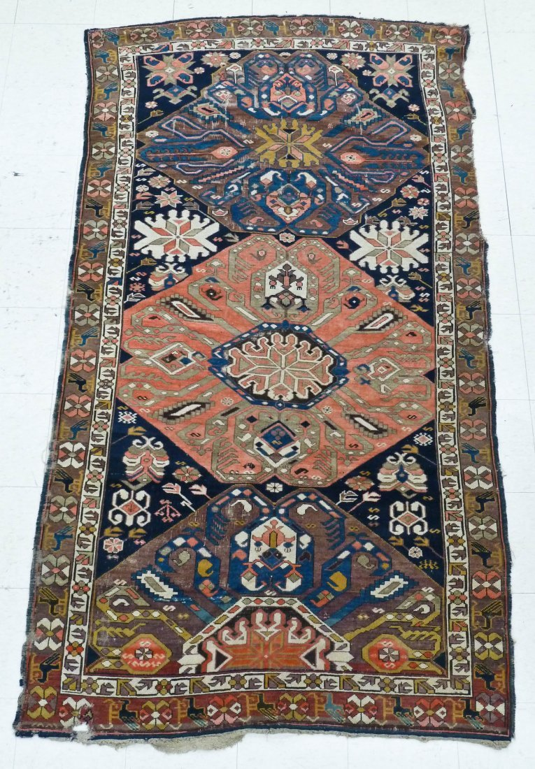 17: Antique Caucasian Oriental Rug 8'7''x4'10''. Wear a
