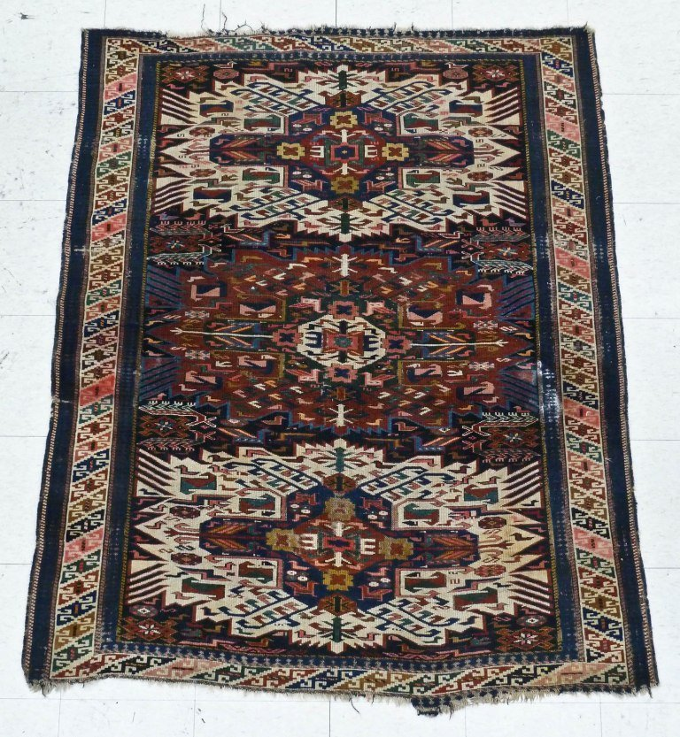19: Antique Zejwa Caucasian Oriental Rug 5'6''x4'5''. O