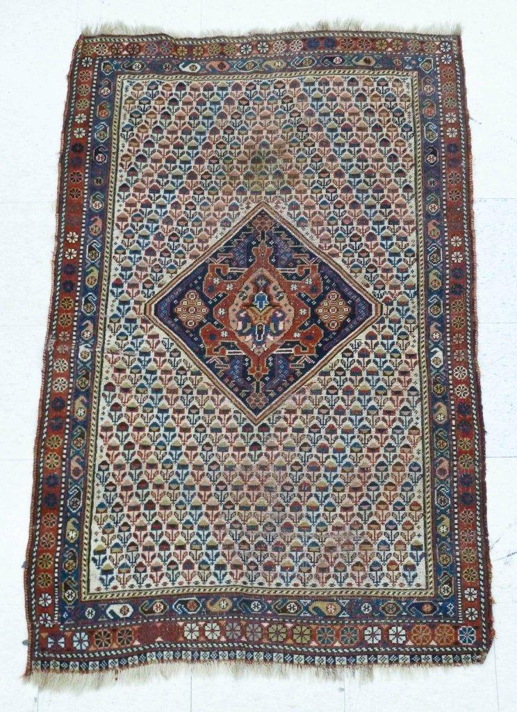 21: Antique Qasgahi Persian Oriental Rug 3'2''x5'. Slig