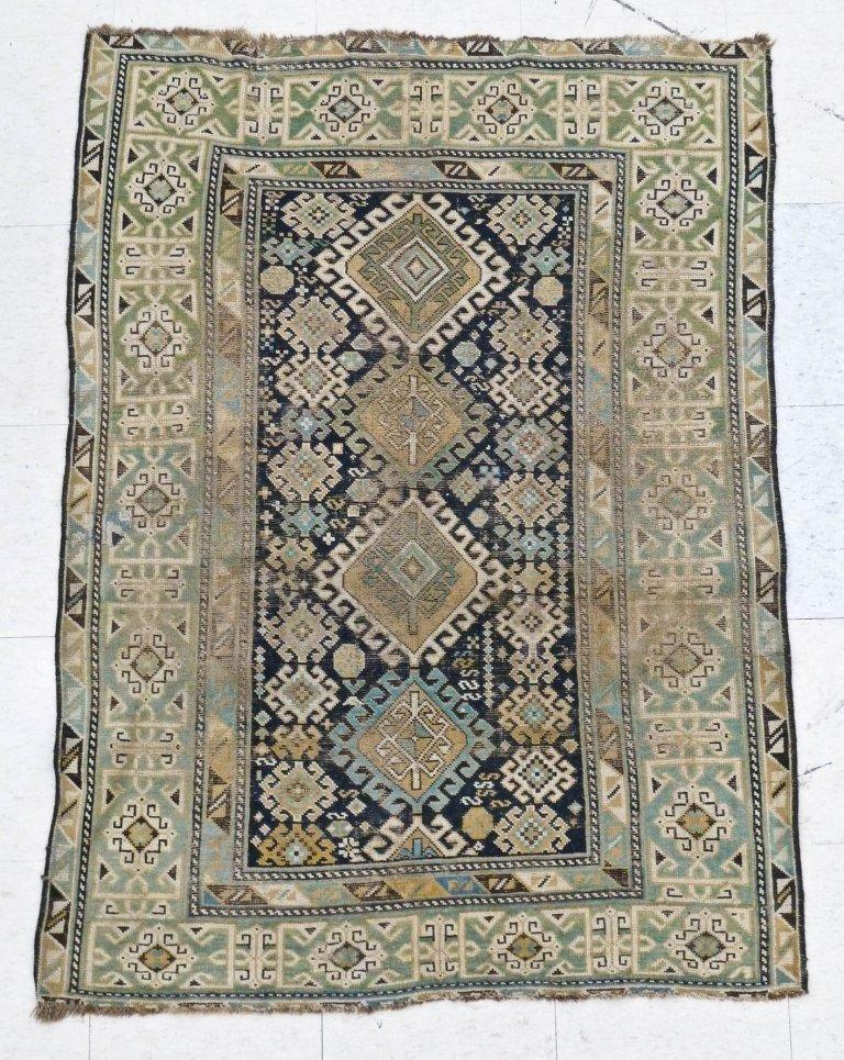 22: Antique Shirwan Oriental Rug 3'4''x4'8''. Worn.