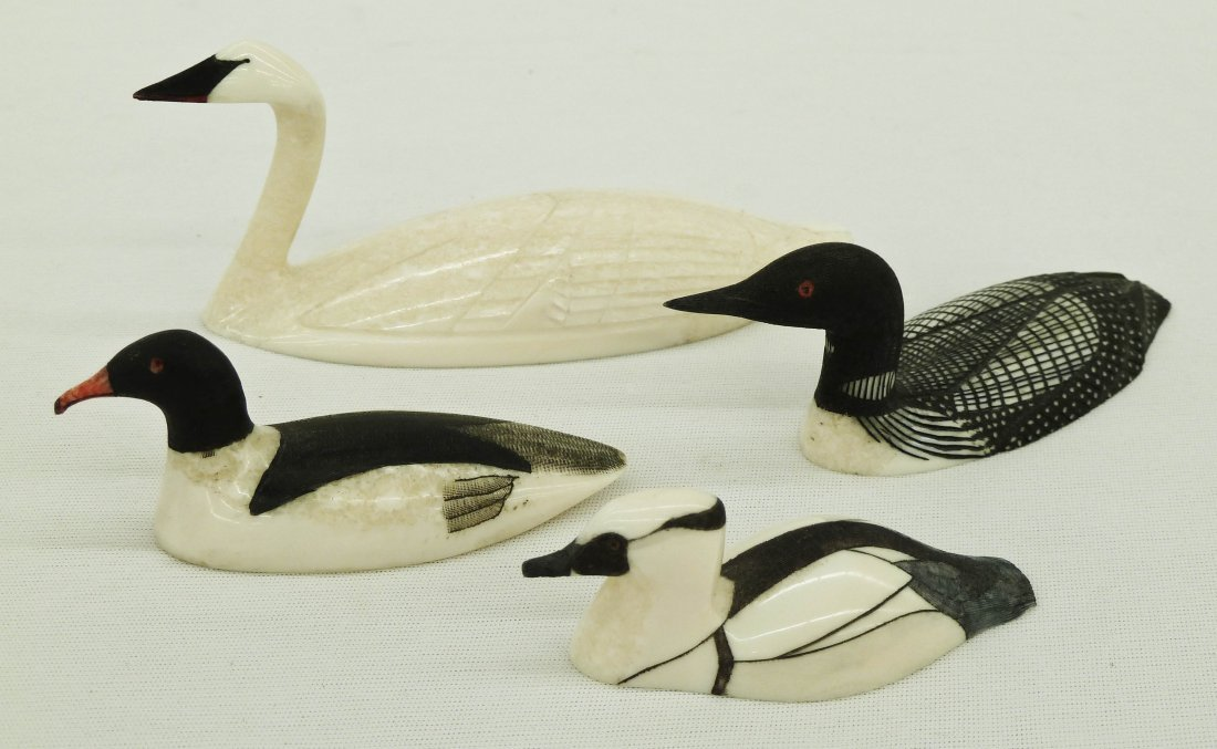 58: (4) Alaskan Scrimshaw Carved Ivory Swan and Loon Bi