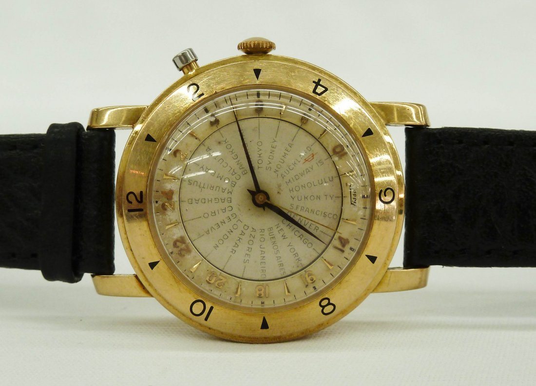 101: 1950's Tissot 14k Gold ''Navigator'' Men's World T