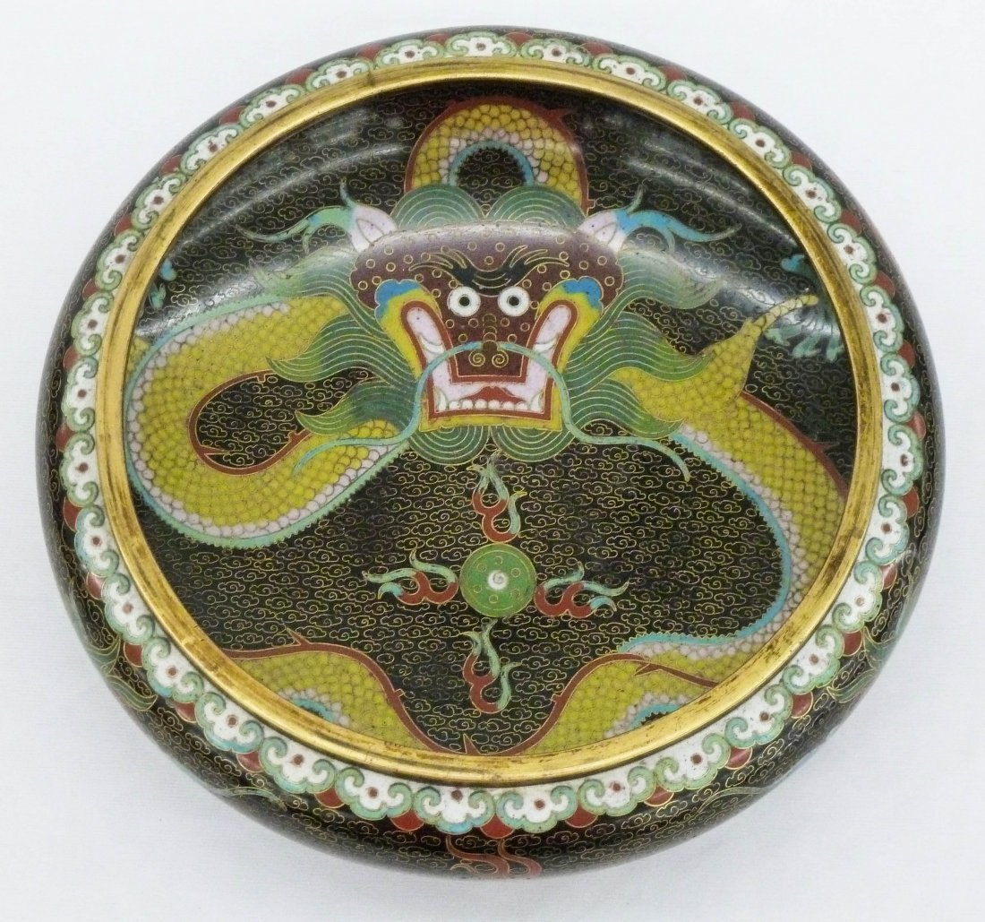 212: Chinese Cloisonne Dragon Bowl with Ming Style Mark