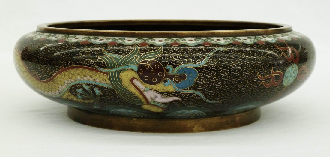 212: Chinese Cloisonne Dragon Bowl with Ming Style Mark - 3