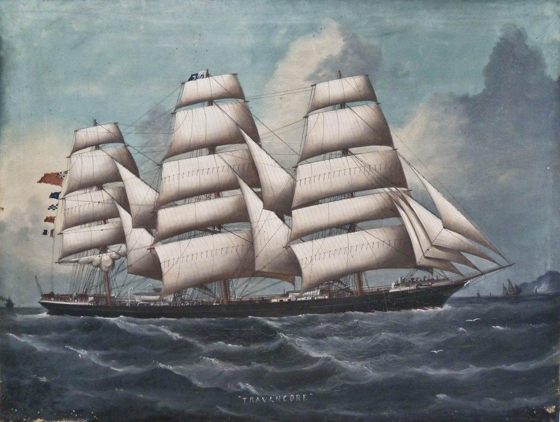"1A: English ""Tridanca"" Schooner Ship Oil/Canvas 22.75""x"