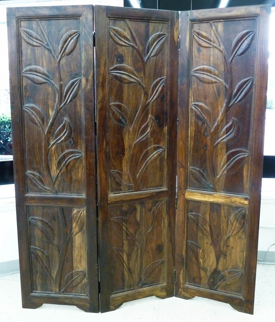 11: Chinese Huanghuali Wood Carved Three-Panel Room Scr