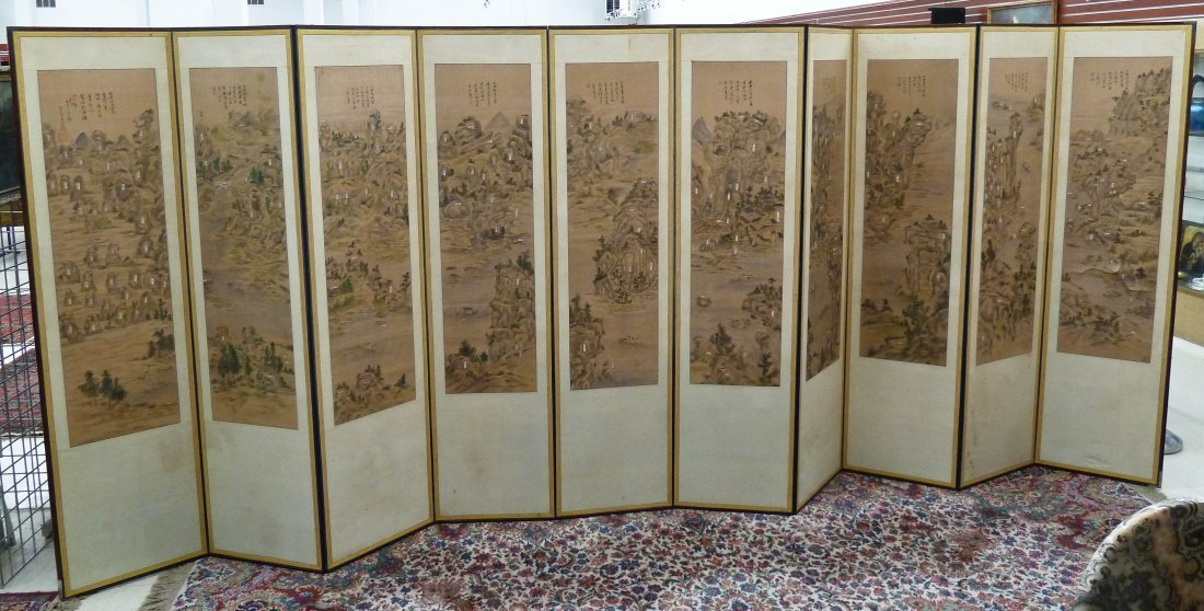 12: Korean Ten-Panel Room Screen with Sumi Landscape Pa