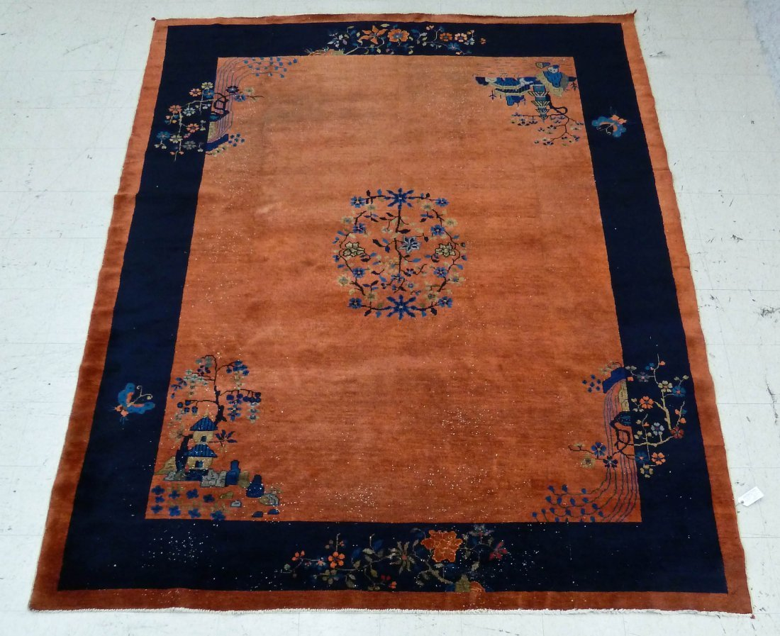 14: Antique Chinese Peking Red & Blue Oriental Rug 9'x1