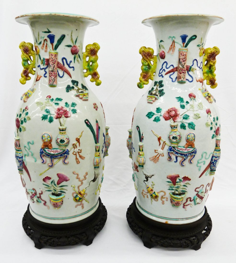 16: Pair Chinese Famille Rose Precious Ornaments Relief