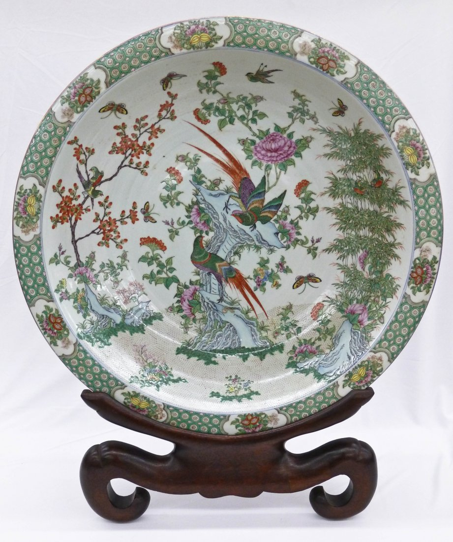 18: Chinese Famille Verte Large 25'' Porcelain Bowl on
