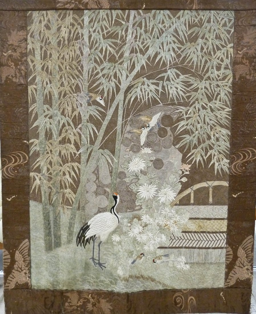 22: Japanese Silkwork Hanging Panel with Cranes & Other