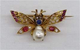 42 14k Victorian Bee Brooch with Inset Diamonds Rubie