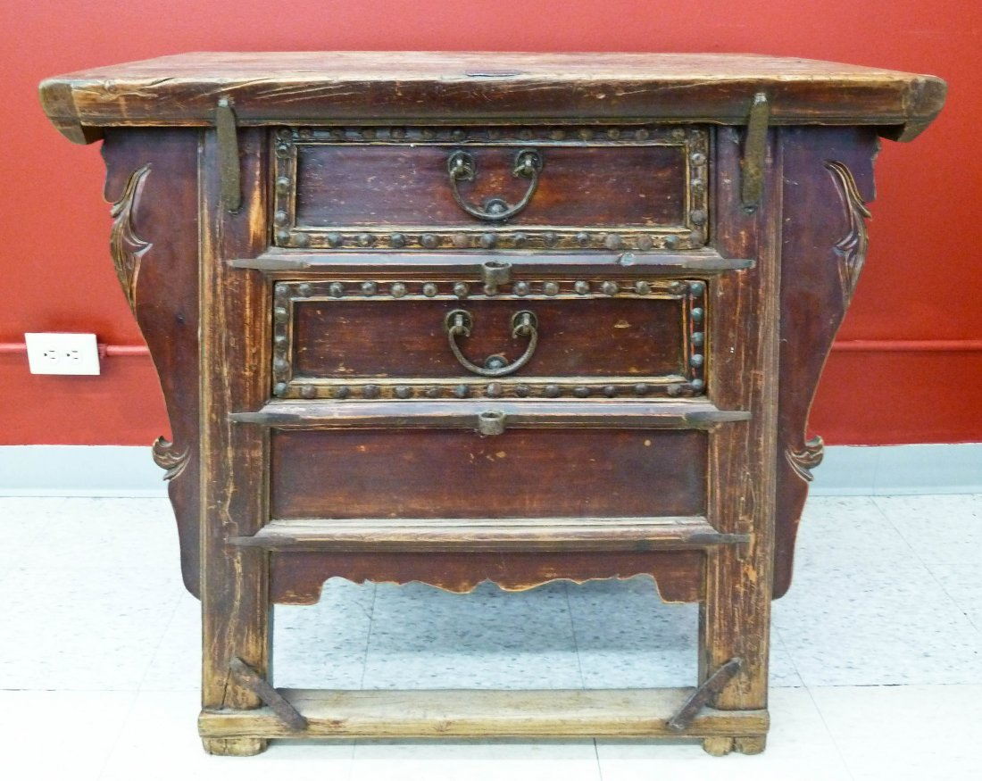 4: Chinese Ming Dynasty Elmwood 2 Drawer Military Stron