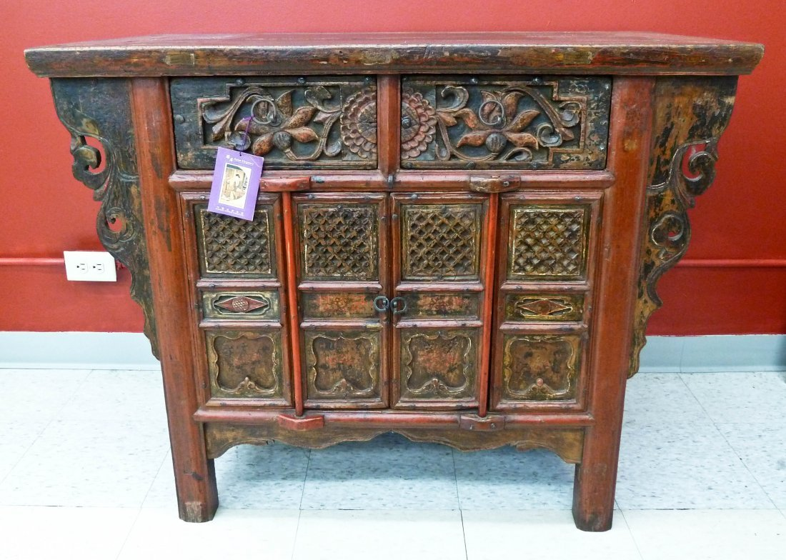 5: Chinese Elmwood Carved & Lacquered Cabinet 33''x42''