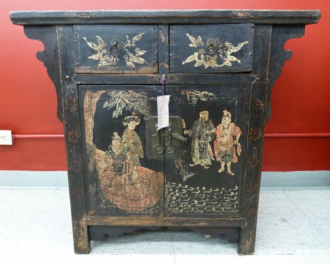 6: Chinese Elmwood Black Lacquered Cabinet 33''x36.5''x