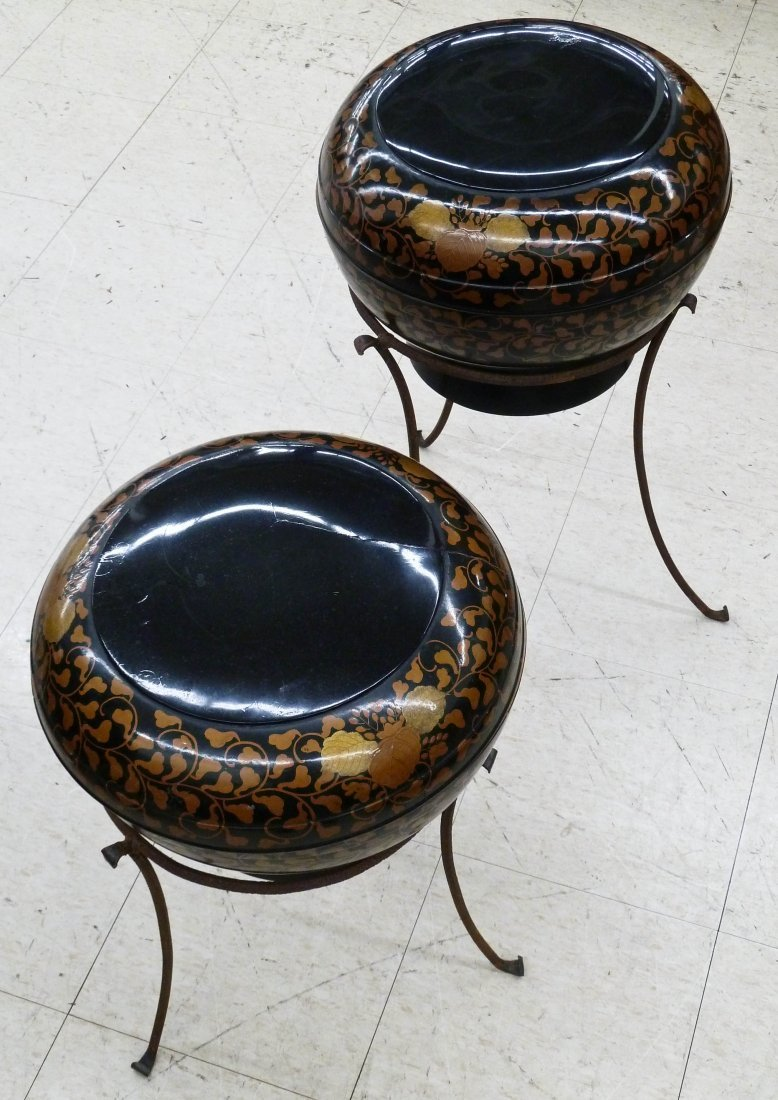 9: Pair Japanese Lacquered Wedding Boxes on Wrought Iro
