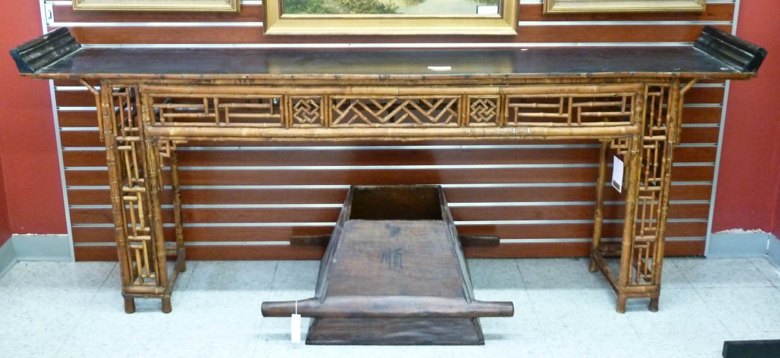 10: Chinese Bamboo & Elmwood Altar Table 33''x89''x15.5