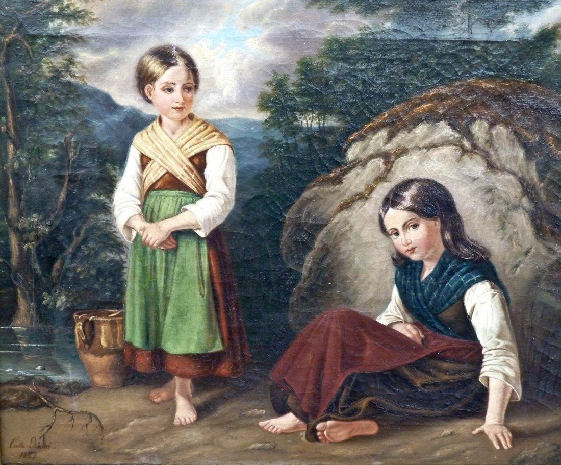 18: Calla Lindhe (19th Century Italian) Untitled Two Gi