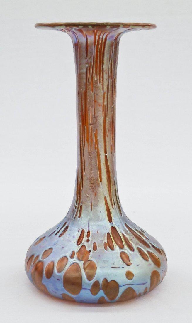 Loetz Diaspora Oil Spot Iridescent Art Glass Fluted Vas