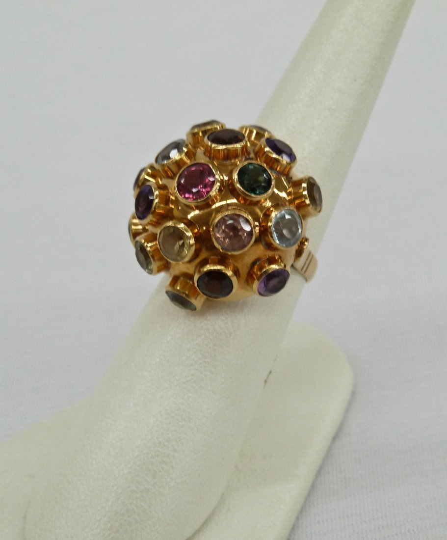 121: 18k Precious Multi-Stone Ring with Natural Pink To