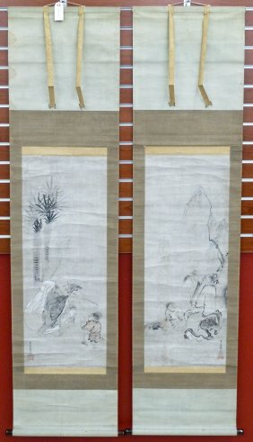 Pair Japanese Meiji Sumi Scroll Paintings Of Immortal I