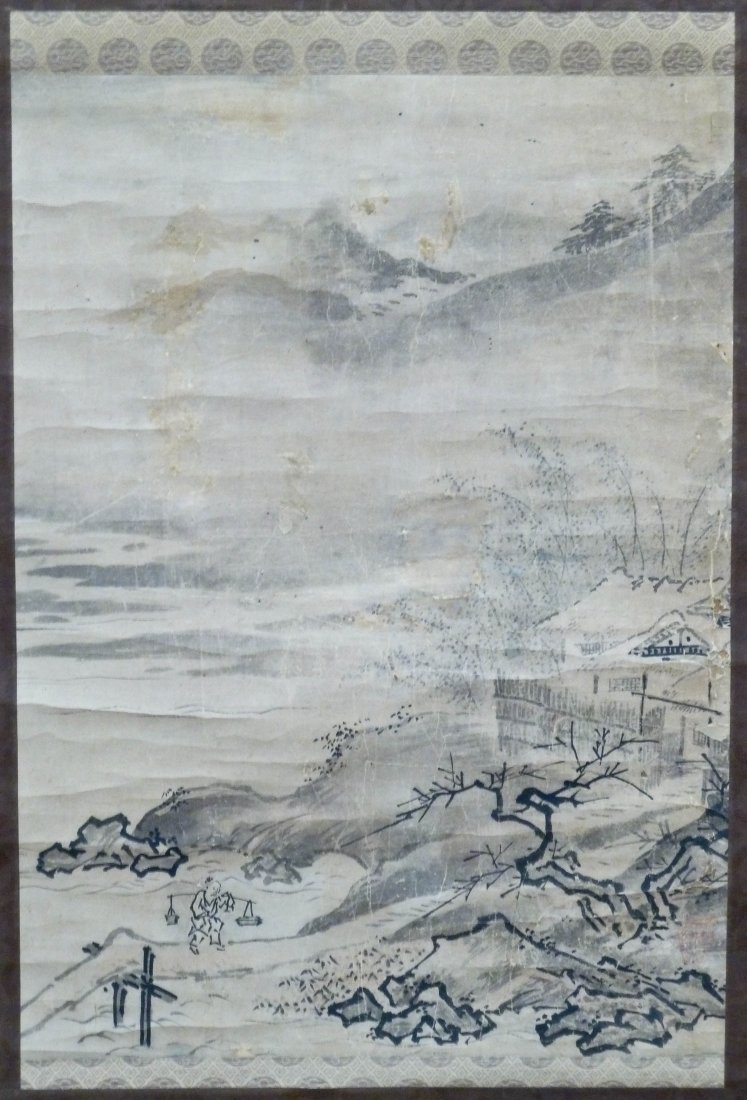 Japanese Meiji Landscape Scroll Painting 24''x17.5'' To