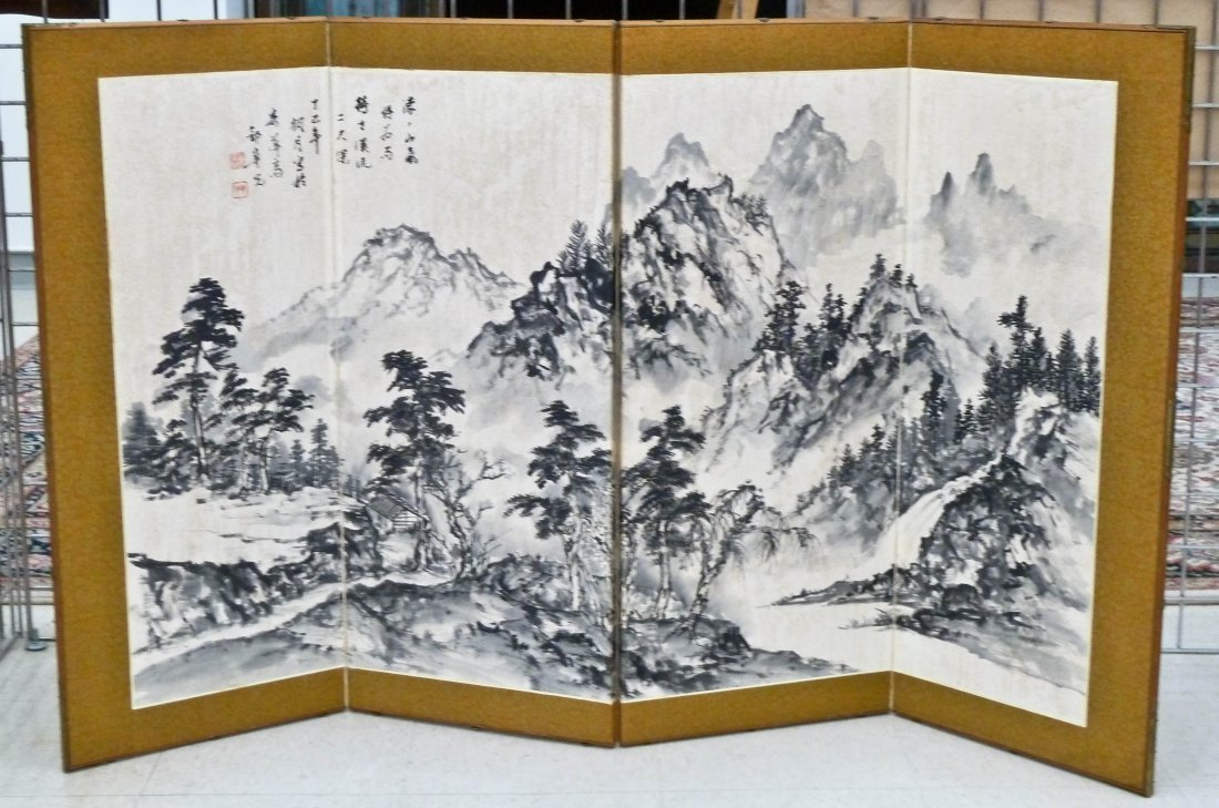 Japanese Sumi Ink Landscape Painted 4-Panel Screen 35''