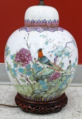 Chinese Famille Rose Porcelain Jar Table Lamp 13.5''x10