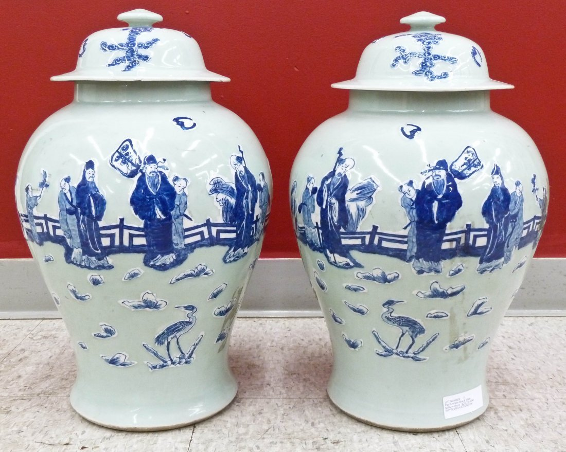 Pair Chinese Blue & White Porcelain Baluster Jars 20''x