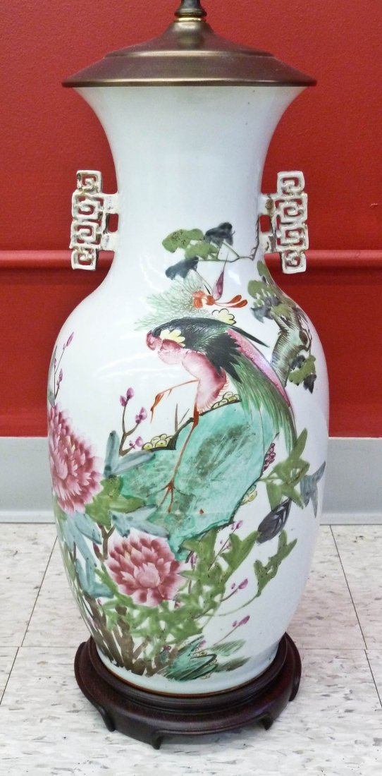 Chinese Famille Rose Bird with Blossoming Flowers Handl