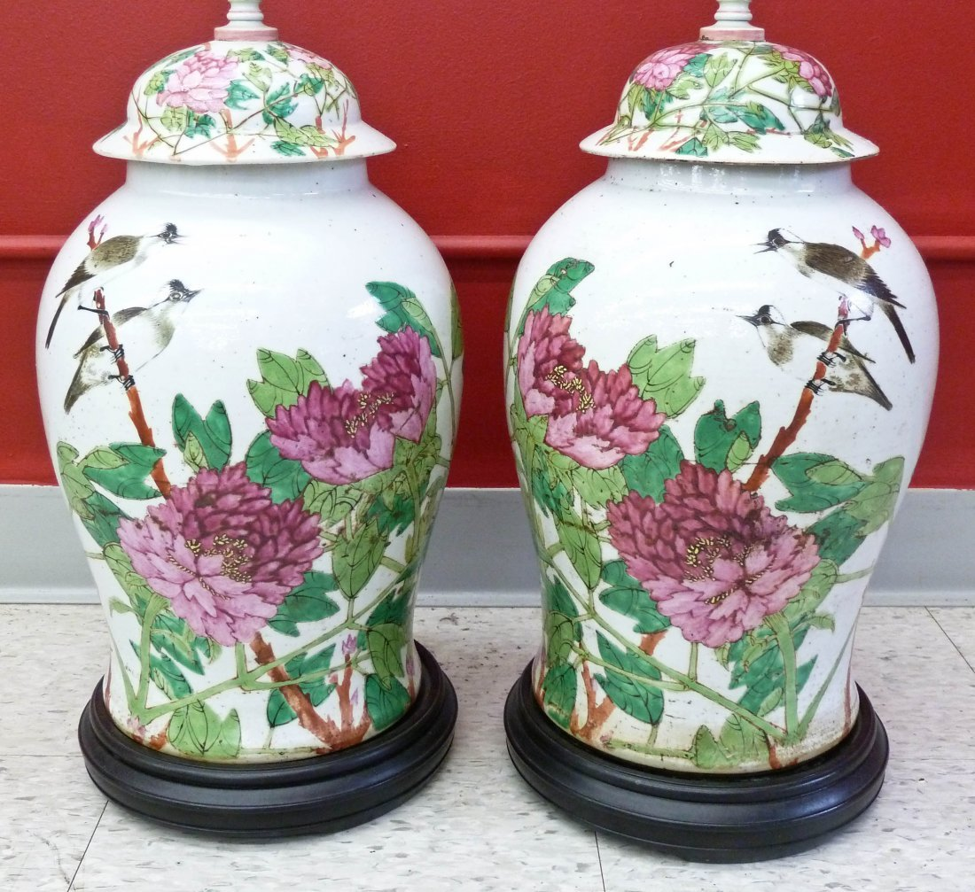 Pair Chinese Famille Rose Birds with Blossoming Flowers