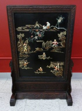 Chinese Carved Rosewood Table Screen Inlaid with Jade,