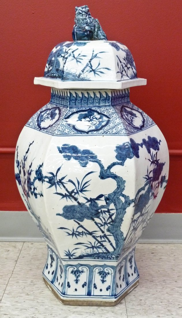 Chinese Blue & White Porcelain Hexagon Baluster Jar wit