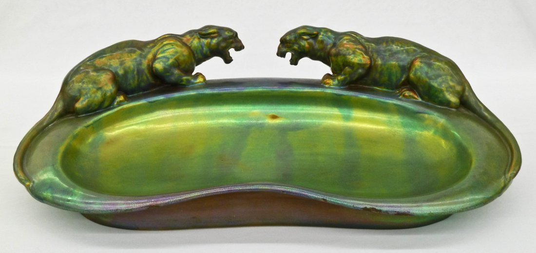 Zsolnay Double Panther Eosin Glaze Figural Tray 18''x10